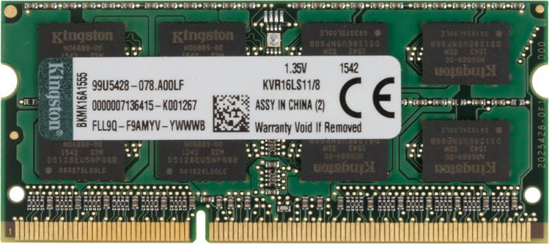 Память SO-DIMM DDR3 KINGSTON 8Gb 1600MHz KVR16LS11/8 RTL PC3-12800 CL11 204-pin 1.35В DDR3L
