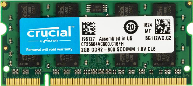 Память DDR2 2Gb 800MHz Crucial CT25664AC800 RTL PC2-6400 CL6 SO-DIMM 200-pin 1.8В