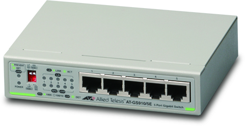 Allied telesis 5 port 10/100/1000TX unmanaged switch with external power supply EU Power Adapter