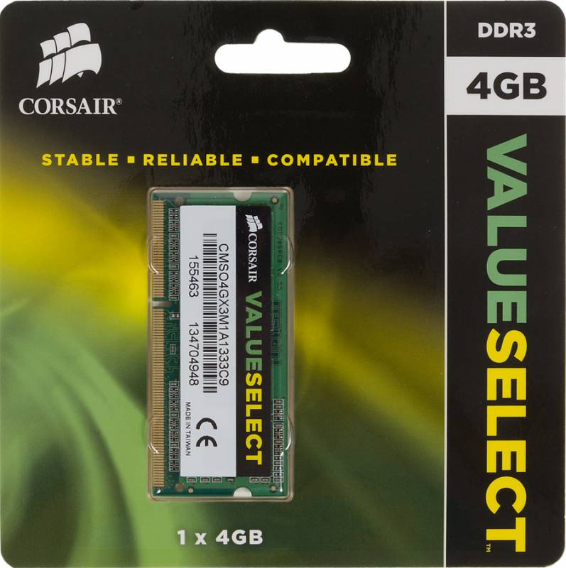 Память SO-DIMM DDR3 CORSAIR 4Gb 1333MHz CMSO4GX3M1A1333C9 RTL PC3-10600 CL9 204-pin 1.5В