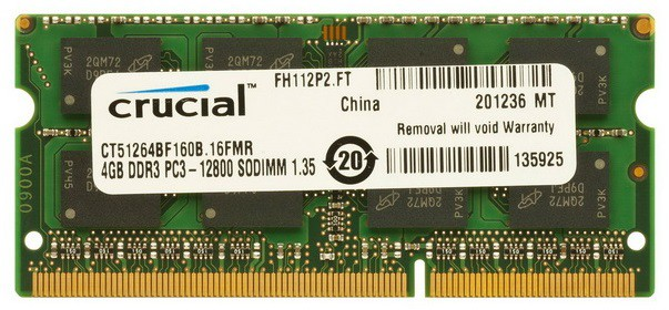 Память SO-DIMM DDR3 CRUCIAL 4Gb 1600MHz CT51264BF160B(J) OEM PC3-12800 CL11 204-pin 1.35В DDR3L