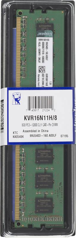 Память DDR3 KINGSTON 8Gb 1600MHz KVR16N11H/8 RTL PC3-12800 CL11 DIMM 240-pin 1.5В