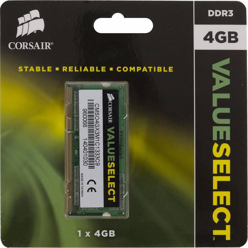 Память SO-DIMM DDR3 CORSAIR 4Gb 1333MHz CMSO4GX3M1C1333C9 RTL PC3-10600 CL9 204-pin 1.35В DDR3L