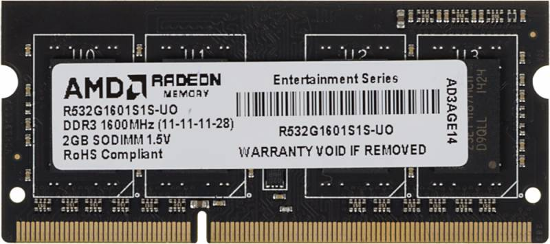 Память SO-DIMM DDR3 AMD 2Gb 1600MHz R532G1601S1S-UO OEM PC3-12800 CL11 204-pin 1.5В