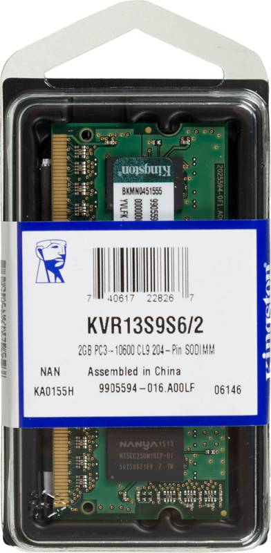 Память SO-DIMM DDR3 KINGSTON 2Gb 1333MHz KVR13S9S6/2 RTL PC3-10600 CL9 204-pin 1.5В