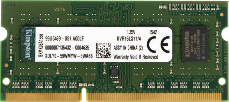 Память SO-DIMM DDR3 KINGSTON 4Gb 1600MHz KVR16LS11/4 RTL PC3-12800 CL11 204-pin 1.35В DDR3L