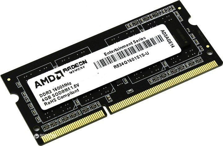 Память SO-DIMM DDR3 AMD 4GB 1600 R5 Entertainment Series Black R534G1601S1S-U Non-ECC, CL11, 1.5V, Retail