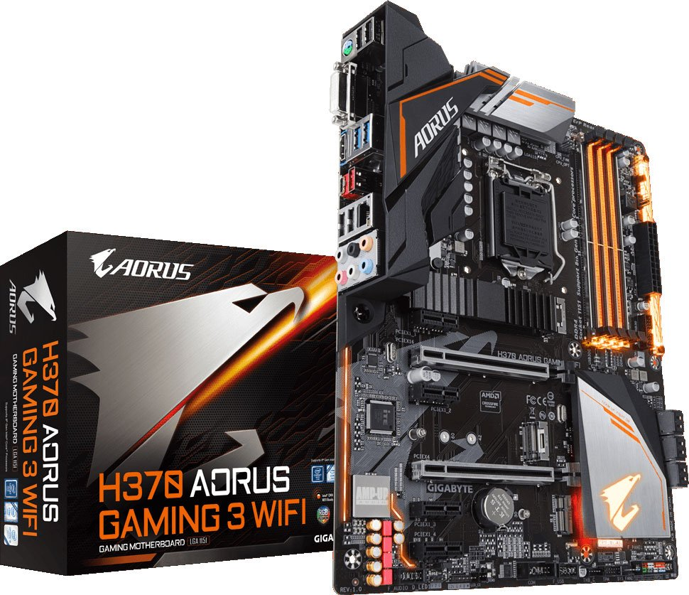 Материнская плата Gigabyte H370 AORUS Gaming 3 WiFi Soc-1151v2, Intel H370, 4xDDR-4, 7.1CH, 1000 Мбит/с, Wi-Fi, Bluetooth, USB3.1, ATX, Retail