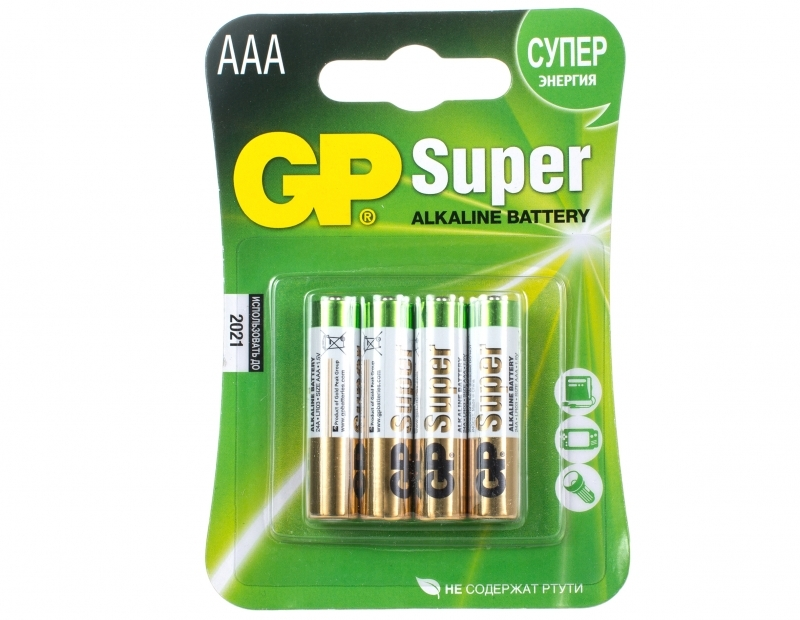 Батарея GP Super Alkaline 24A(CR4)-UE4 AAA (4 шт)
