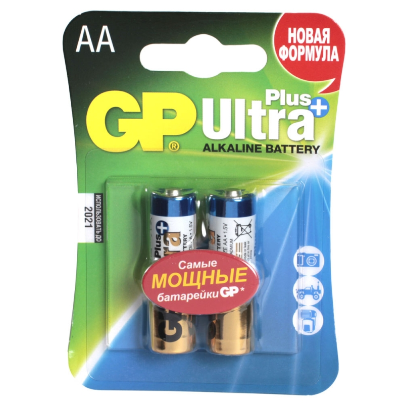 Батарея GP Ultra Plus Alkaline 15AUP LR6 AA (2шт)