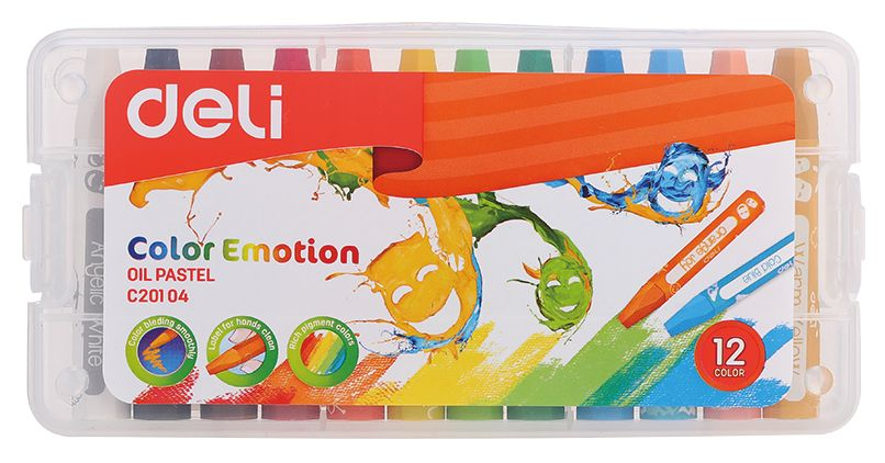 Масляная пастель Deli EC20104 Color Emotion шестигранные 12цв. пл.кор.