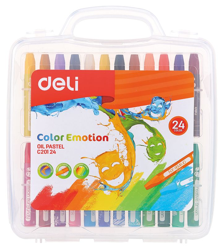Масляная пастель Deli EC20124 Color Emotion шестигранные 24цв. пл.кор.