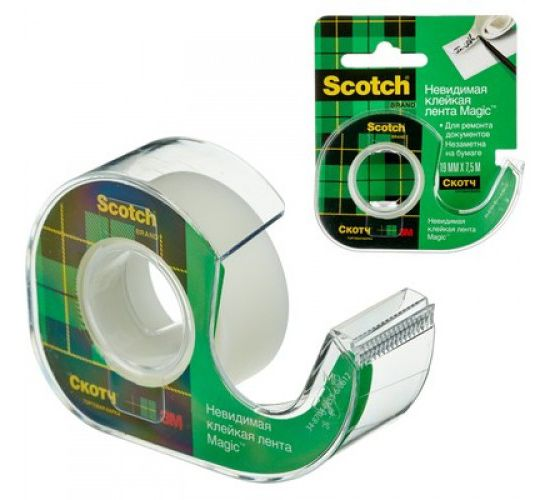 Клейкая лента канцелярская 3M Scotch Magic 7100093940 шир.19мм дл.7.5м невидимая на диспенсере